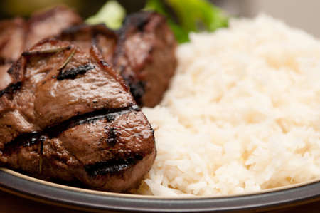 grilled lamb chops, vegetables with rice, seared to perfection