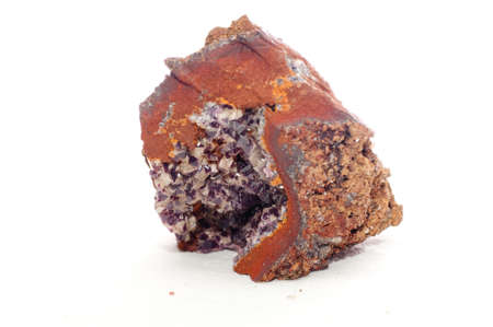 adamite purple crystal mineral sample,a rare earth element Stock Photo