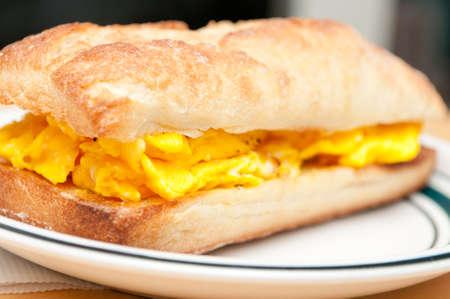 scrambled egg breakfast sandwich with ciabatta bread Stock Photo
