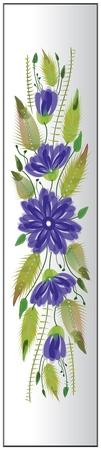 Floral ornamental bookmark retro folk petrykivka style Ilustração
