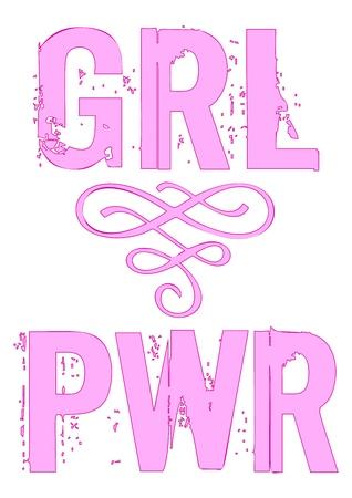 PWR GRL power girl vector phrase Lettering for design.