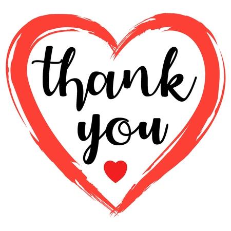 Testo di ringraziamento abbozzato a mano con cuore in stile piatto. Tipografia di lettere. Vettoriali