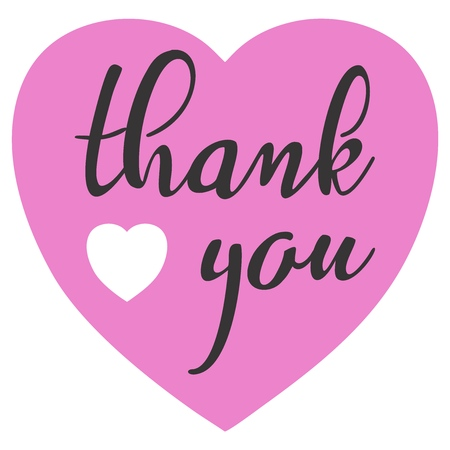 Hand sketched Thank you text with heart in flat style design. Lettering typography. Illusztráció