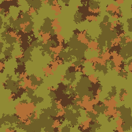 Classic color khaki swamp forest seamless pattern vector fashion camo design. Trendy camouflage fabric pattern.  イラスト・ベクター素材