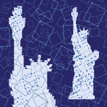 Abstract Triangulated Silhouette of Statue of Liberty with blue squares background. United States famous travel landmark. Colorful polygonal monument icon.