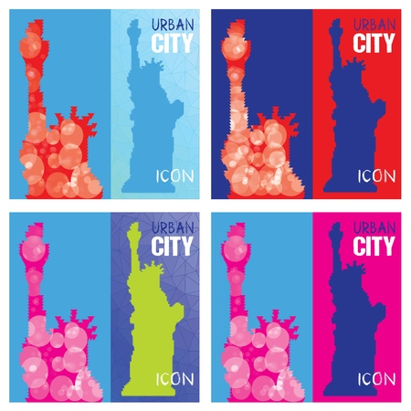 Set of Four Abstract Silhouettes of Statue of Liberty Triangulated with blue squares background.