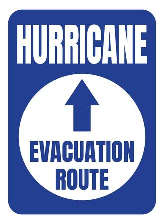 Hurricane Evacuation Route Road Sign Blue Square Ilustración de vector