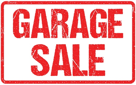 Garage Sale Typography Isolated on White Rubber Stamp Imitation
