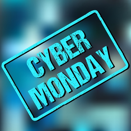 Banner with CYBER MONDAY sign in frame on abstract background. Vector illustration. Illustration