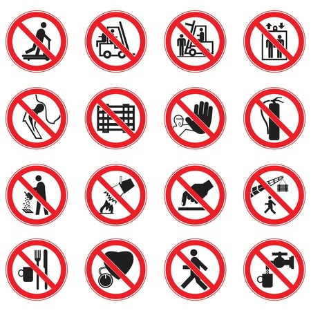A set of prohibition Red circle prohibition safety signs