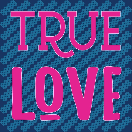 TRUE LOVE_slogan graphic geometri Stock Illustratie