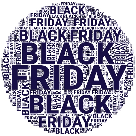 Black Friday Wordcloud. Typography concept. Text cloud. Vector illustration Illustration