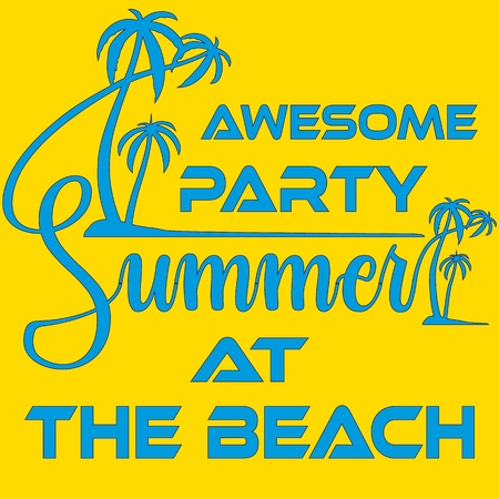 Summer Beach Party Template, Banner or Flyer Shirt Typography design with illustration of palm trees