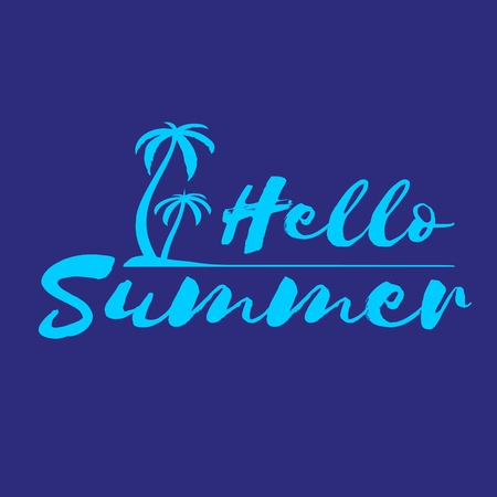 Lettering Hello Summer with palm trees on island