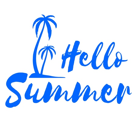 Hello Summer. Calligraphy quote with palm trees on island