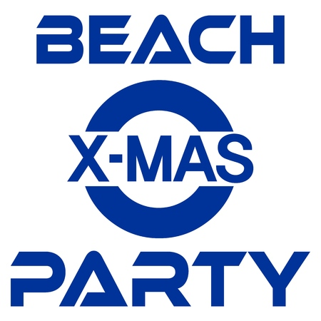 Christmas party at the beach banner seashore with palm and snowman. Vector illustration. Stock Illustratie