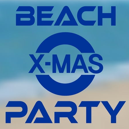 Christmas party at the beach typography icon banner with seashore background. Vector illustration.