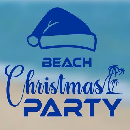 Christmas party at the beach typography icon banner seashore with santa hat. Vector illustration. Illustration