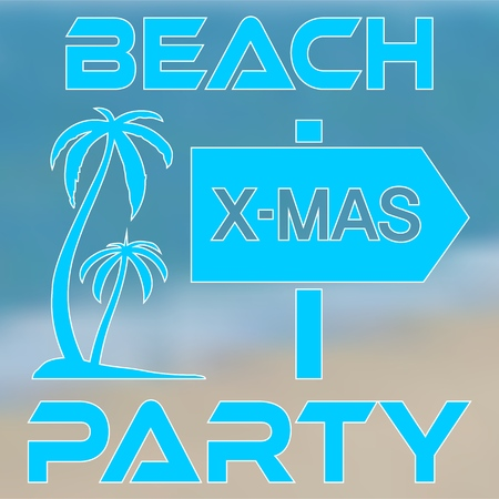 Poster concept Christmas Beach Party with palm trees on island Illustration