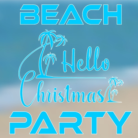 Lettering Hello Christmas with palm trees on island Illustration
