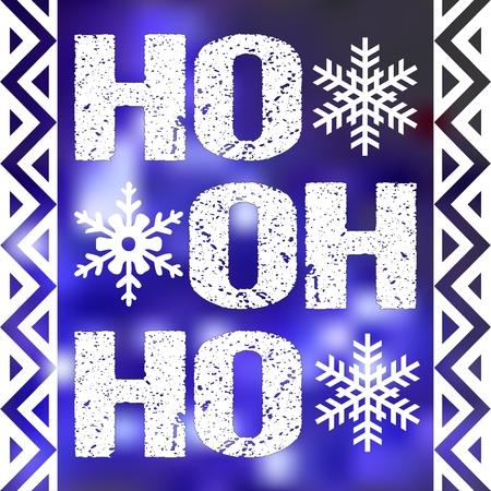 Christmas card design with words ho ho ho. Lettering on blurred violet background