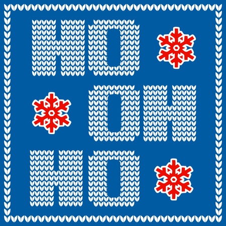 Christmas card with knitted Santa Claus hohoho phrase on blue background. Stock Illustratie