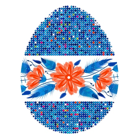 Colorful Happy Easter Egg for greeting card folk style