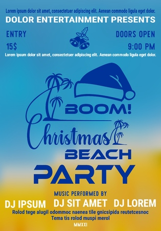 Christmas party at the beach poster or flyer template with palm and santas hat on seashore blurred background. Vector illustration.