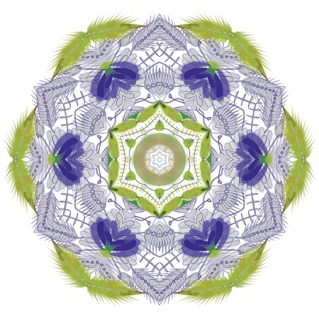 abstract round and hex floral ornamental frame.