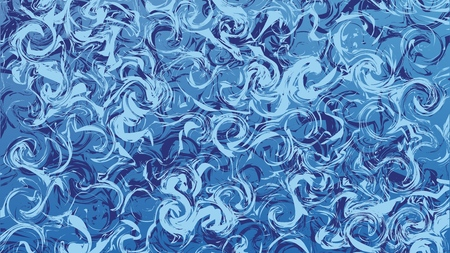 Marble blue abstract background. Digital painted vector marbled texture. Wide aspect ratio
