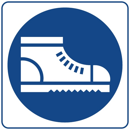 Wear safety footwear. Protective safety boots must be worn, mandatory sign, vector illustration. Vetores