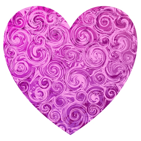 A pink valentine shape heart with light and deep pink marble swirls.