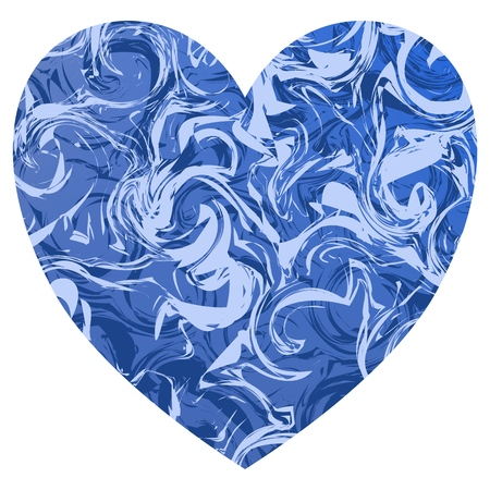 A blue valentine shape heart with light and deep blue marble swirls.
