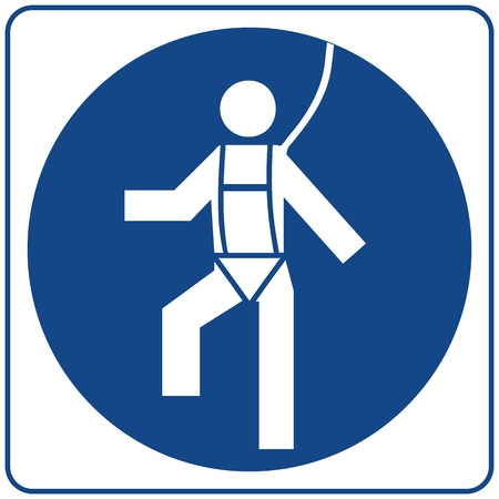 Safety Harness Must Be Worn. Information mandatory symbol in blue circle isolated on white. Notice label.