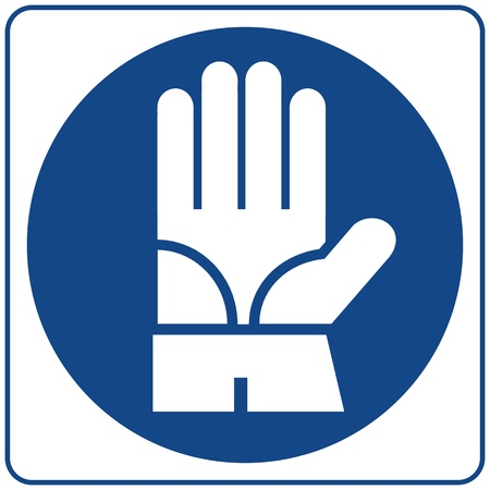 Mandatory Signs - Protective Gloves Must Be Worn In This Area. Illustration