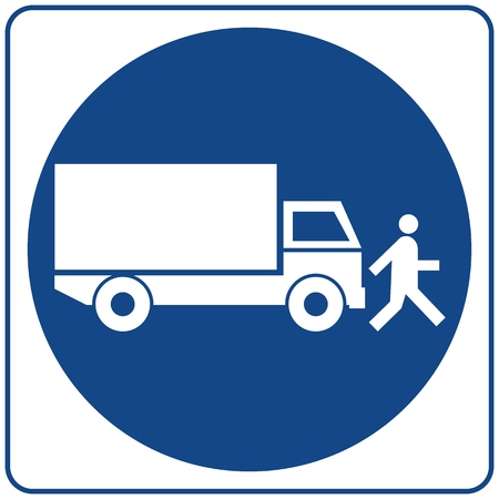 Safety sign. Information mandatory symbol in blue circle isolated on white. Notice label. Ilustração