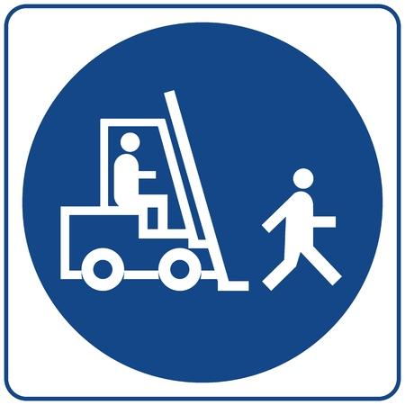 Safety sign. Information mandatory symbol in blue circle isolated on white. Notice label. Illustration
