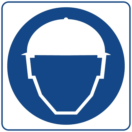 Safety sign. Isolated on white. Notice label. Safety Helmets Must Be Worn.