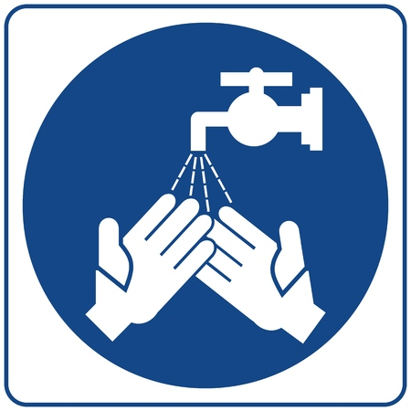 Safety sign. Information mandatory symbol in blue circle isolated on white. Hands Must Be Washed Before Returning To Work. Ilustração
