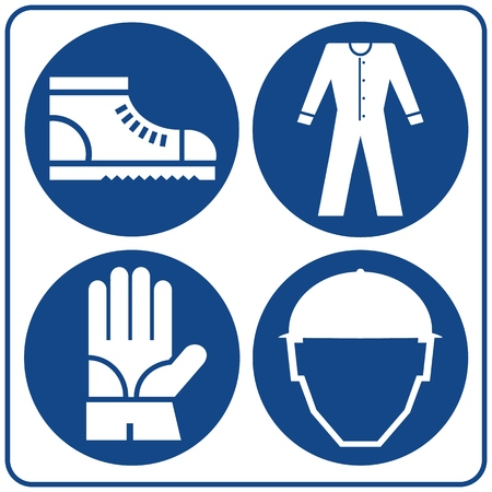 Safety signs set. Information mandatory symbol in blue circle isolated on white. Notice label.