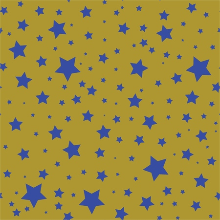 Seamless pattern with blue stars on a olive gold background. Illustration