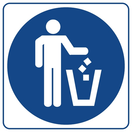 Information mandatory symbol in blue circle isolated on white. Litter disposal sign.