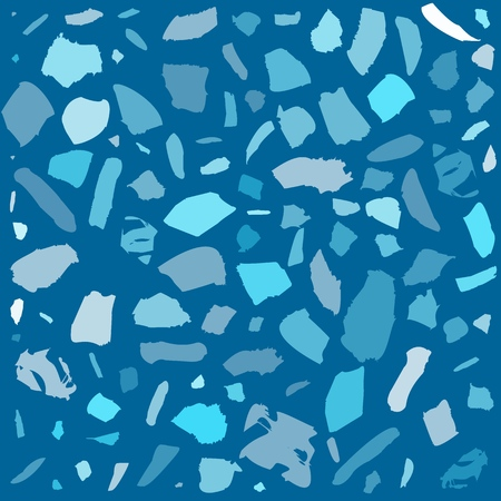 Texture of terrazzo tile with pebbles and stone. Abstract blue vector background. Ilustrace