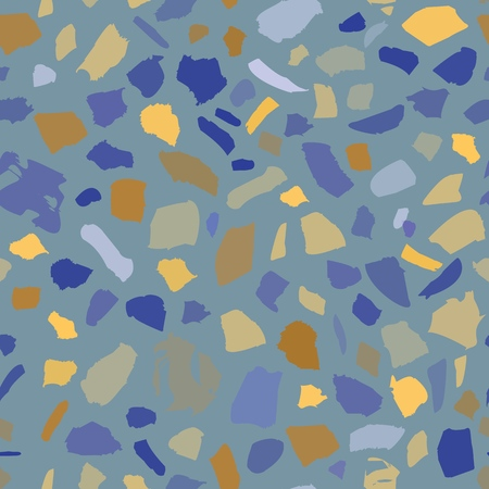 A texture of terrazzo seamless tile with pebbles and stone. Abstract blue vector background.