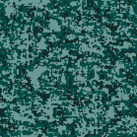 Digital camouflage seamless pattern. Abstract geometric military texture. Repeating modern stylish fabric textile background with QR data Pixel Camo Fashion