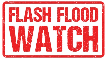 Flash Flood Watch, Warning Sign Red Banner, Flood Warning With Distressed Grunge Rubber Texture