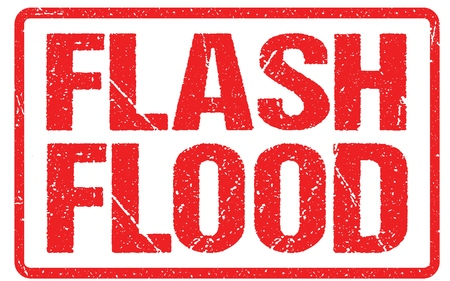Flash Flood Warning Sign Red Banner, Flood Warning With Distressed Grunge Rubber Texture.