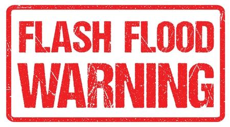Avertissement d'inondation éclair, bannière rouge de panneau d'avertissement, avertissement d'inondation avec texture en caoutchouc grunge en détresse. Vecteurs