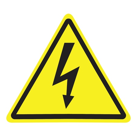 High Voltage Sign. Black arrow isolated in yellow triangle on white background. Warning icon