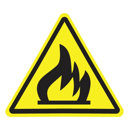 Fire warning sign in yellow triangle. Flammable, inflammable substances icon.